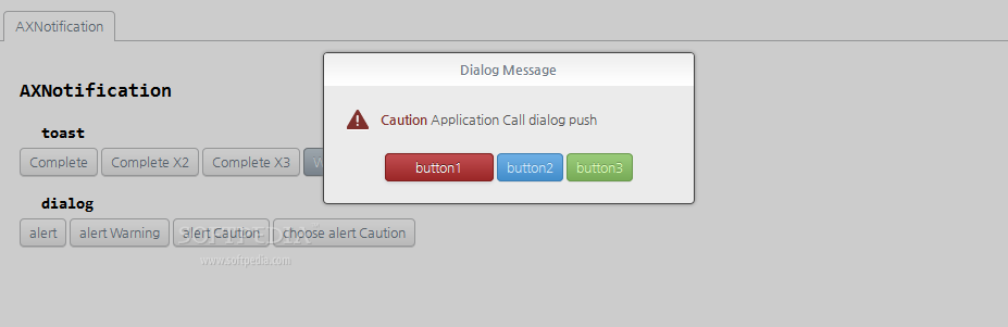 AXISJ - Notifications and warnings can also be shown via dialog messages