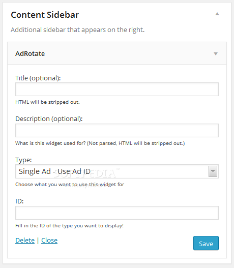 AdRotate - A sidebar widget is available for publishing an ad on the site's frontend
