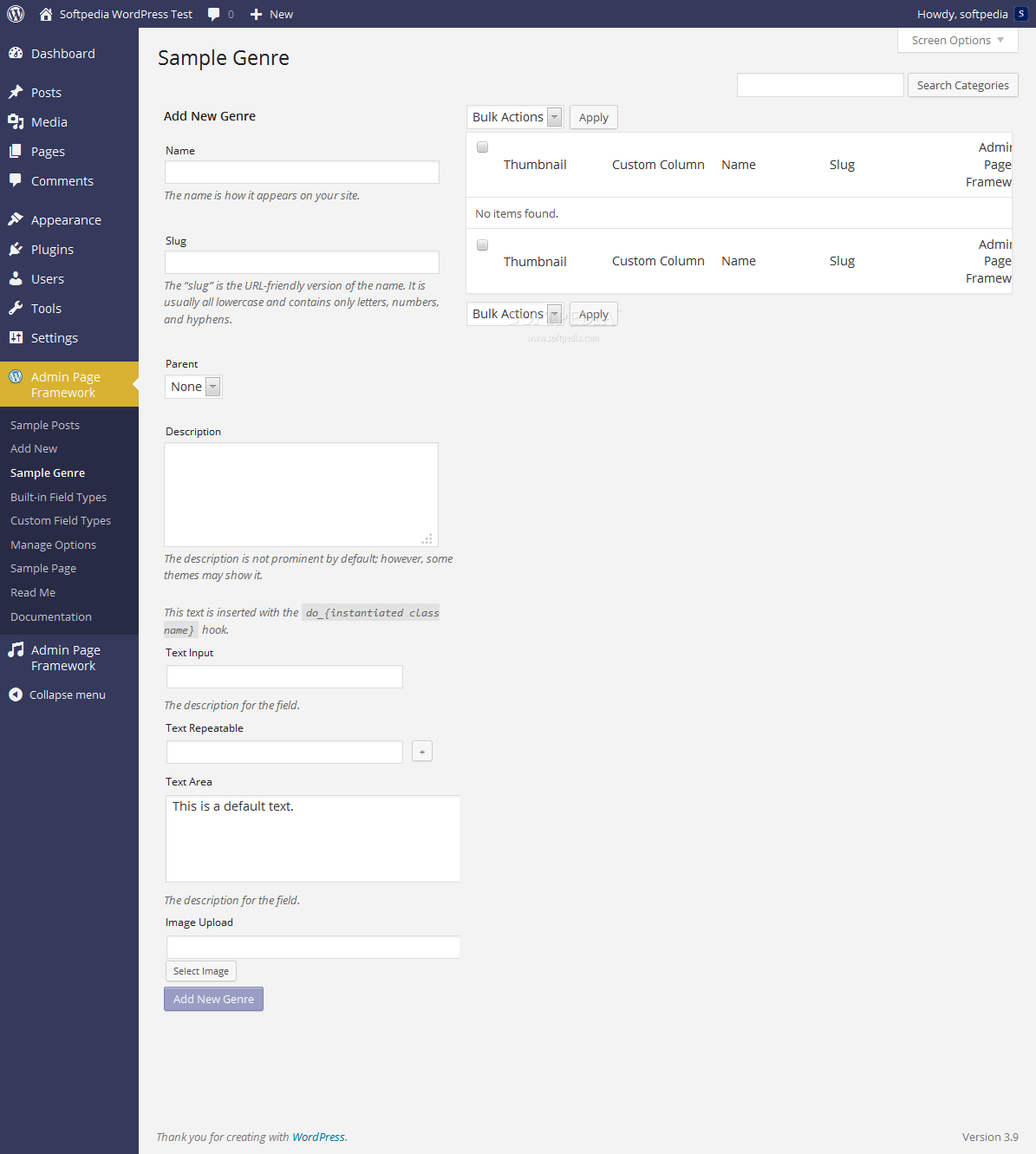 Admin Page Framework - Taxonomy integration is also supported