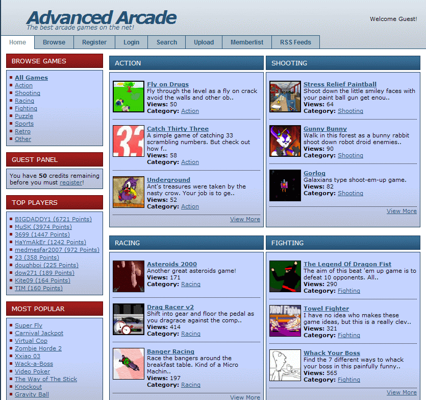 Advanced Arcade PHP screenshot 1