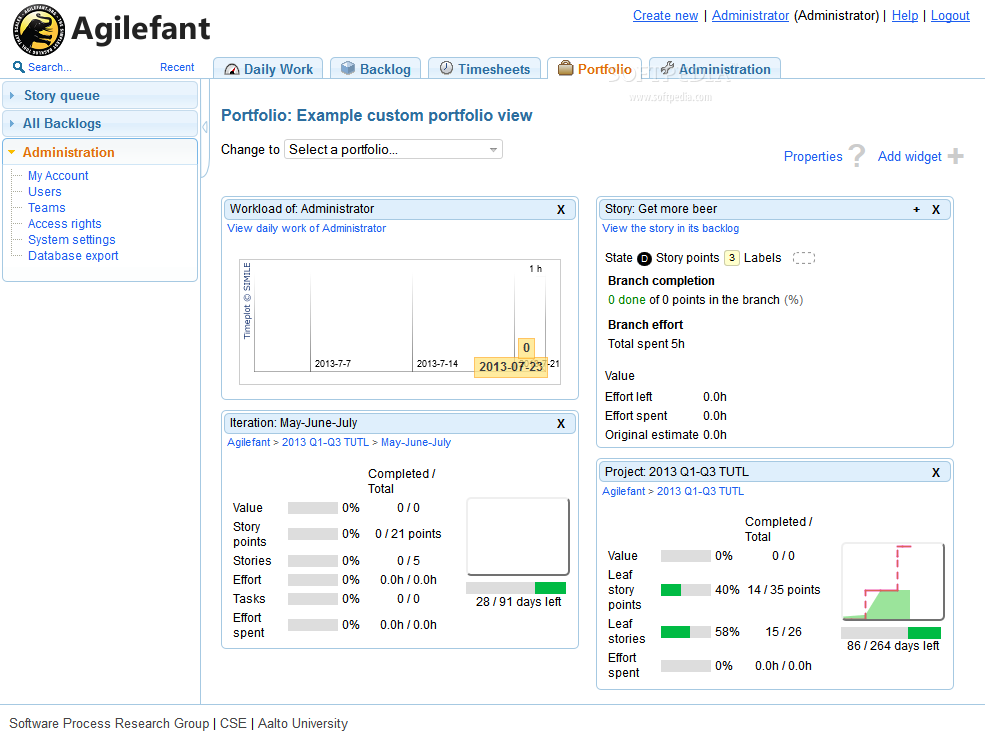 Agilefant - A portfolio section also ships with Agilefant