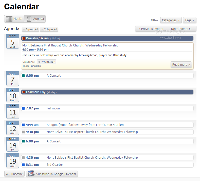 All-in-One Event Calendar screenshot 2