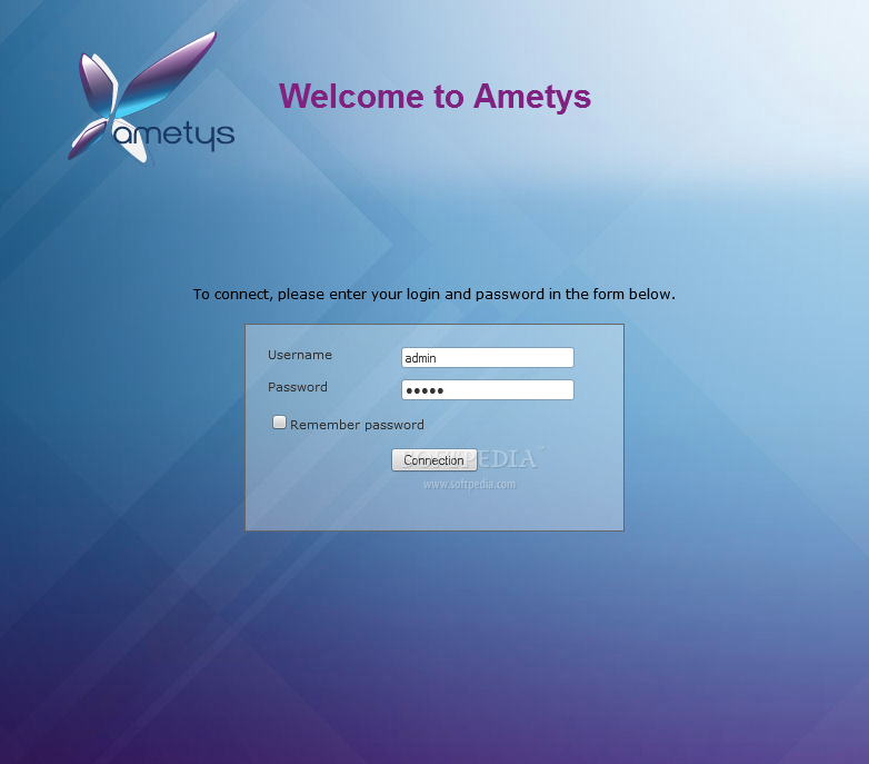 Ametys CMS - The Ametys administration panel is password protected
