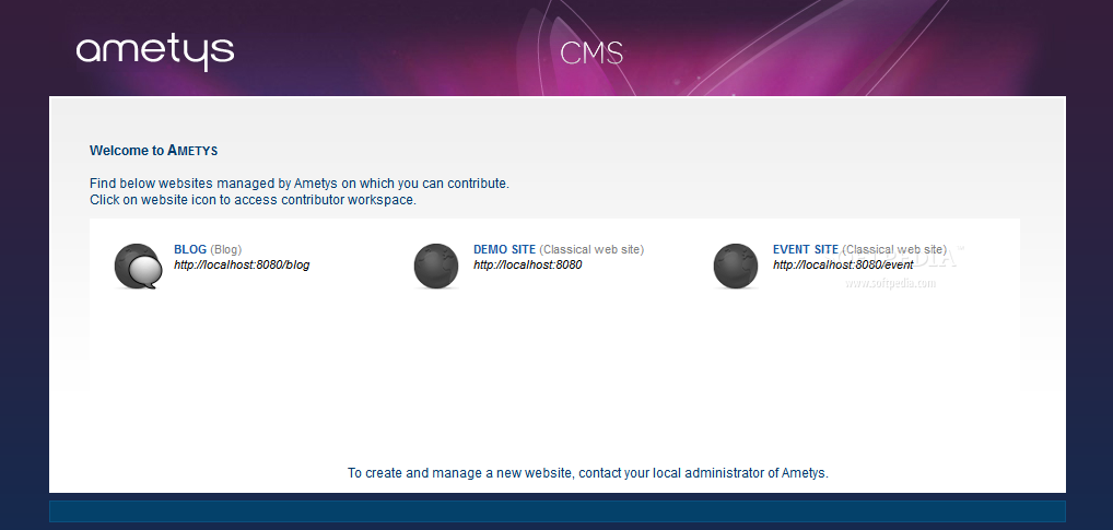 Ametys CMS - After logging in, admins can choose which of the active sites to manage