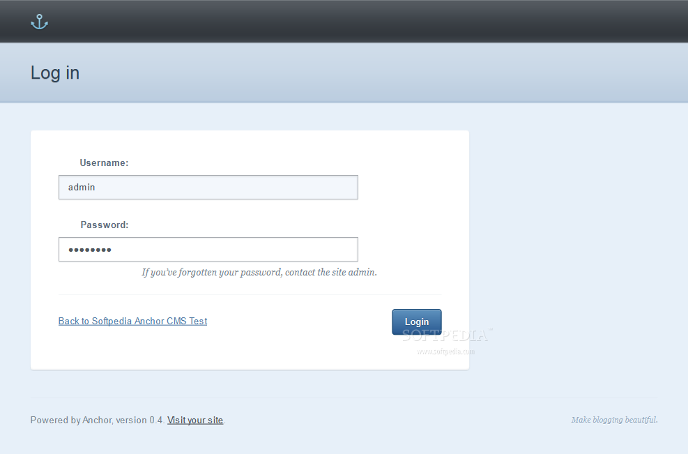 Anchor CMS - Admin login page
