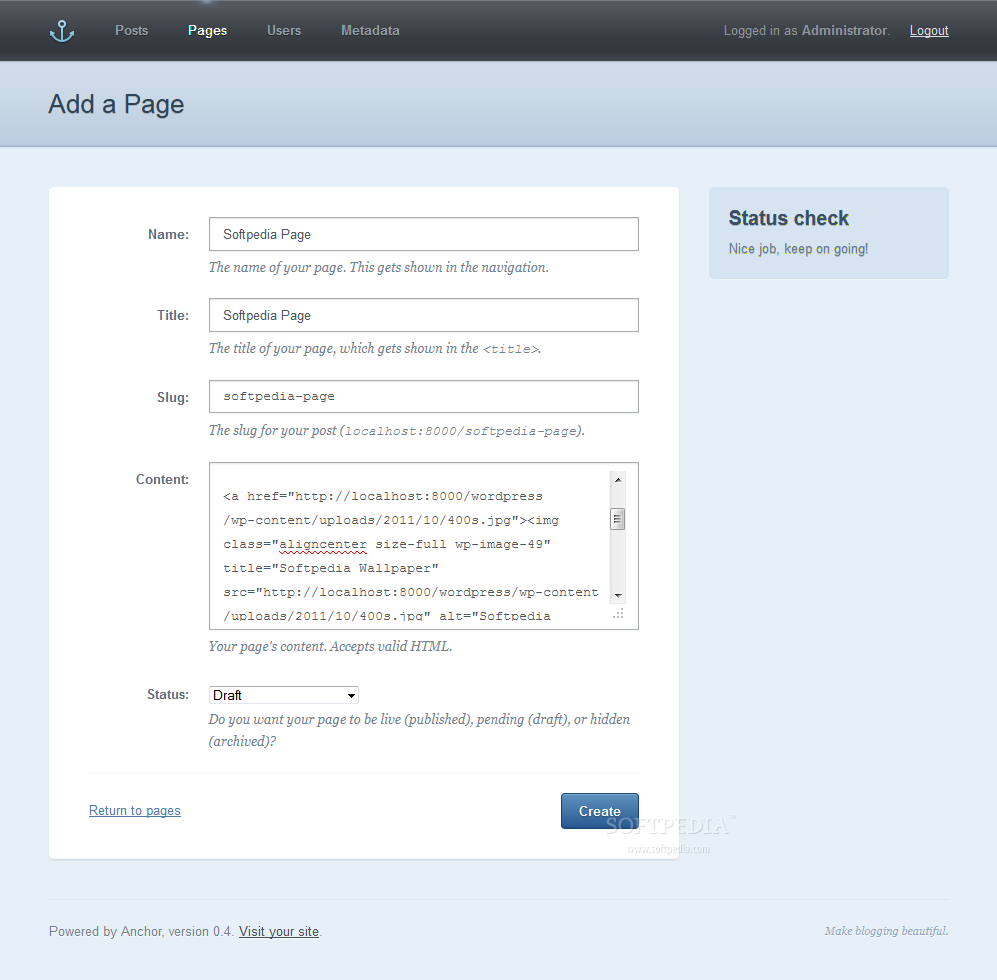Anchor CMS screenshot 6