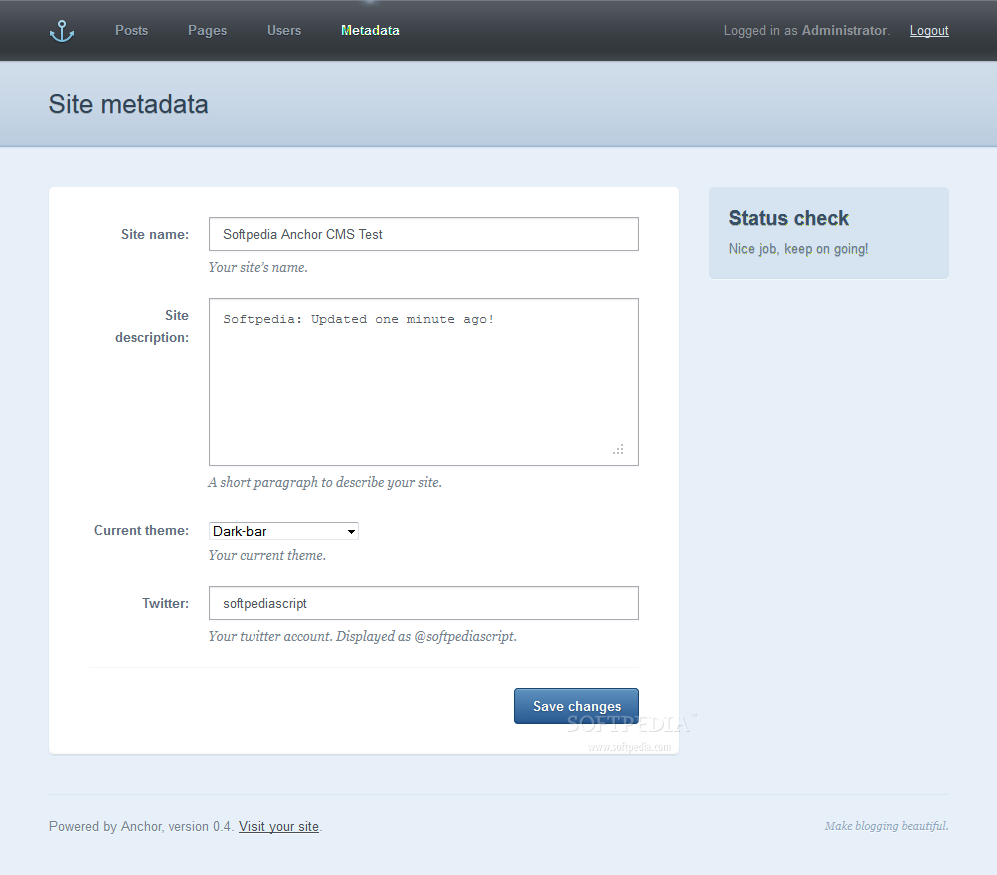 Anchor CMS - General site settings