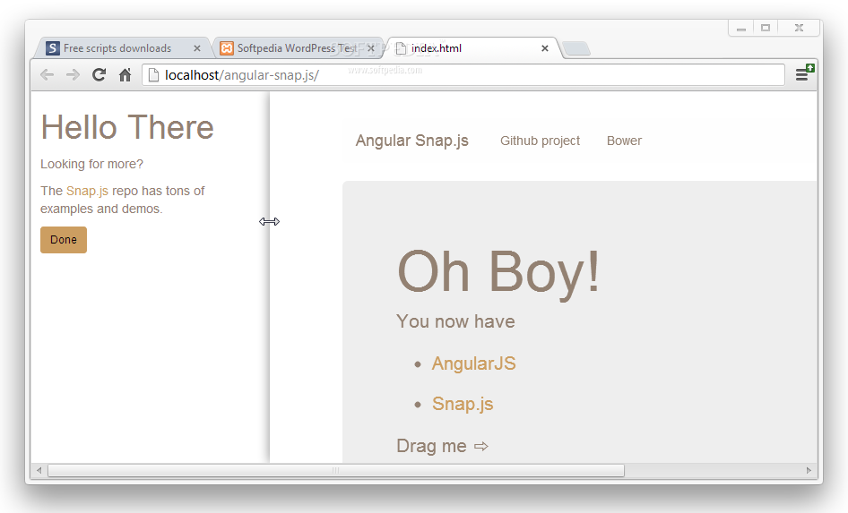 Angular Snap.js - Grabbing one of the designated margins and pulling it aside reveals the hidden Angular Snap.js menu