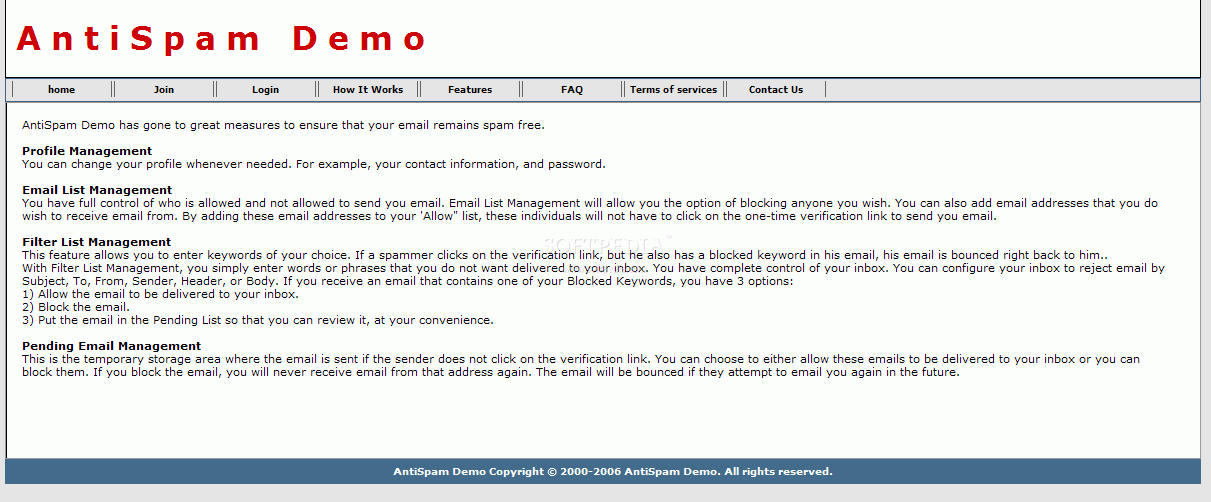 AntiSpam Site screenshot 2