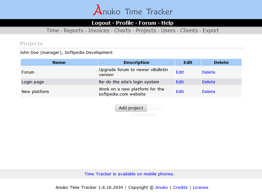 Anuko Time Tracker - And they can create projects as well