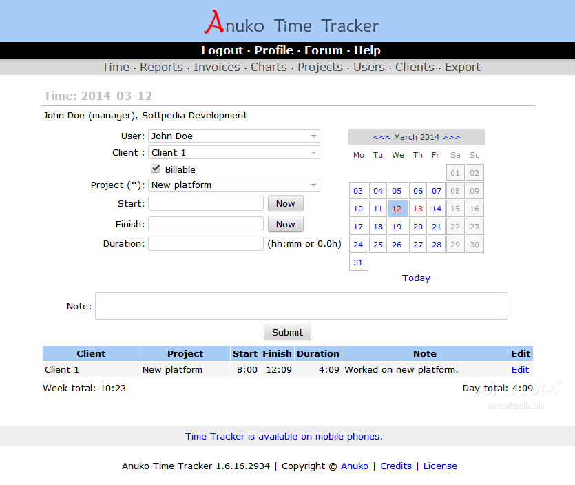 Anuko Time Tracker - The time tracking sheet allows a team manager to assign working hours and projects to each team member