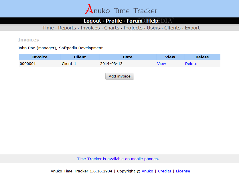 Anuko Time Tracker - An invoicing utility is packed with Anuko Time Tracker as well