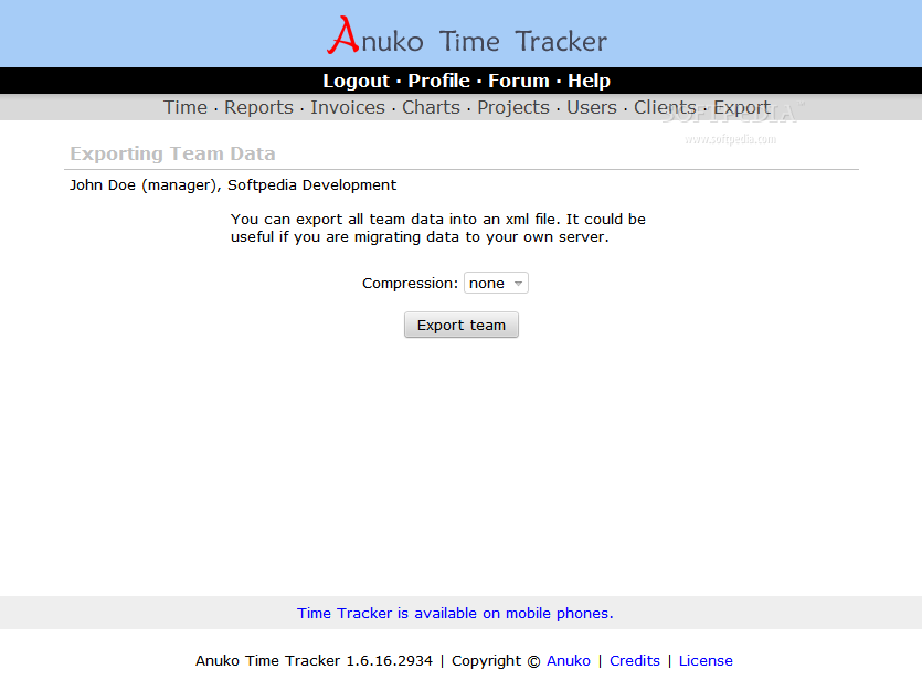 Anuko Time Tracker - An activity export tool is included with the Anuko Time Tracker also