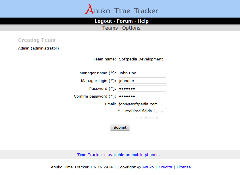 Anuko Time Tracker - Once logged in, the admin can create teams for his projects