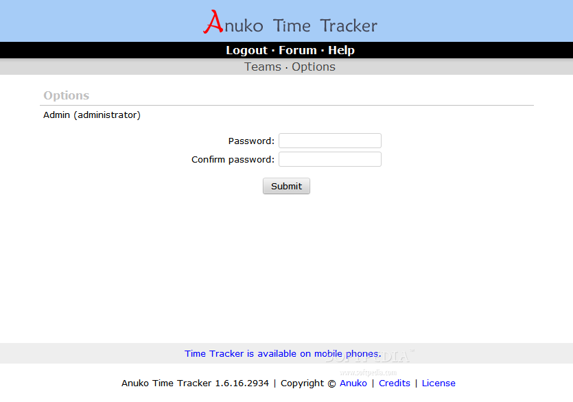 Anuko Time Tracker - The admin can also modify his login credentials
