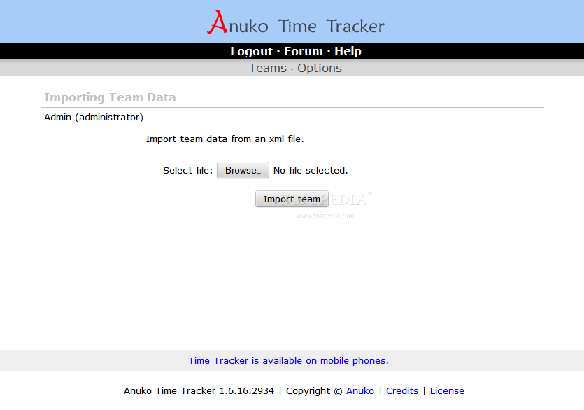Anuko Time Tracker - Team data and details can also be imported