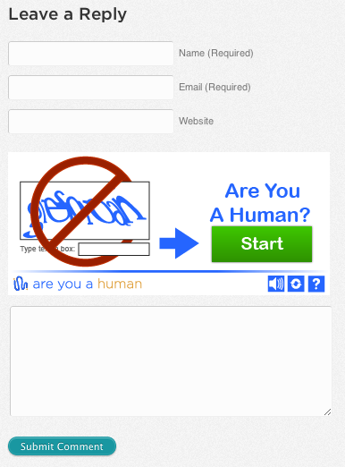 Are You a Human (WordPress) - CAPTCHA field in the comment form