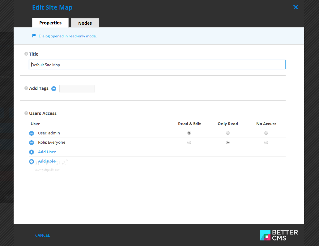 Better CMS - Each sitemap can be edited and customized at will