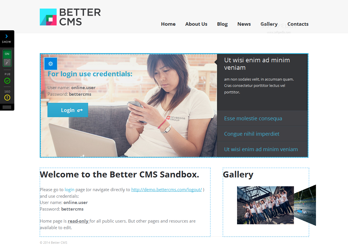 Better CMS - The page editing toolbox can be minimized for better access to the content