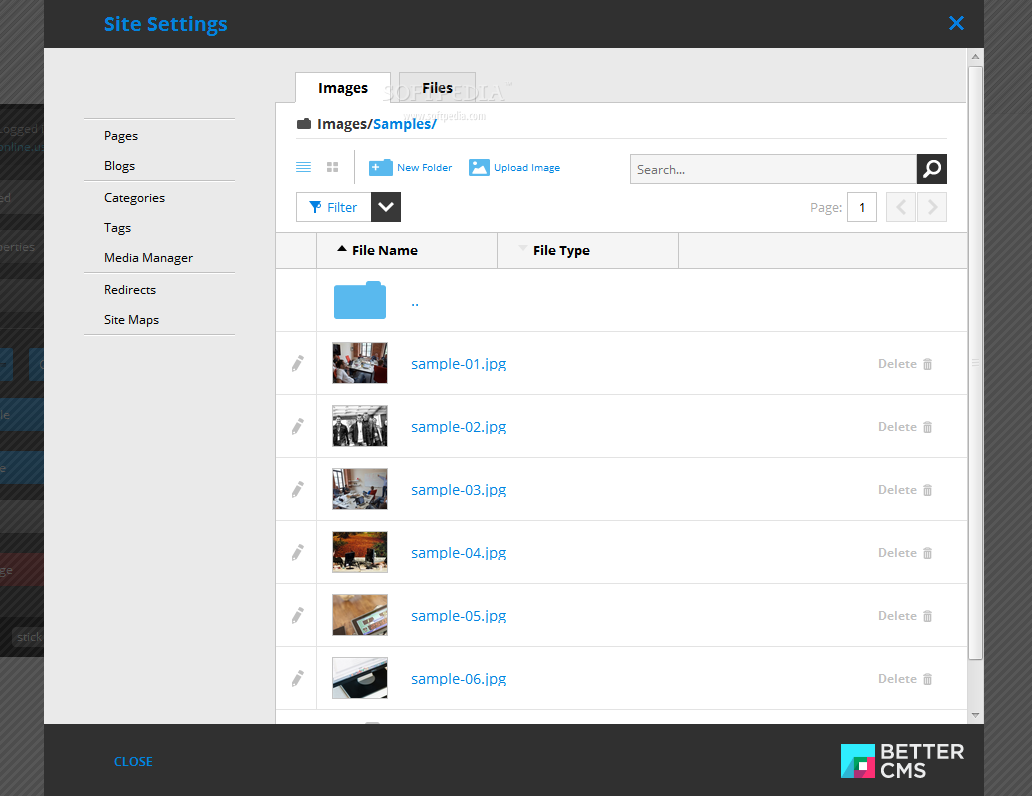 Better CMS - A file manager app is included as well, helping administrators manage their CMS' files