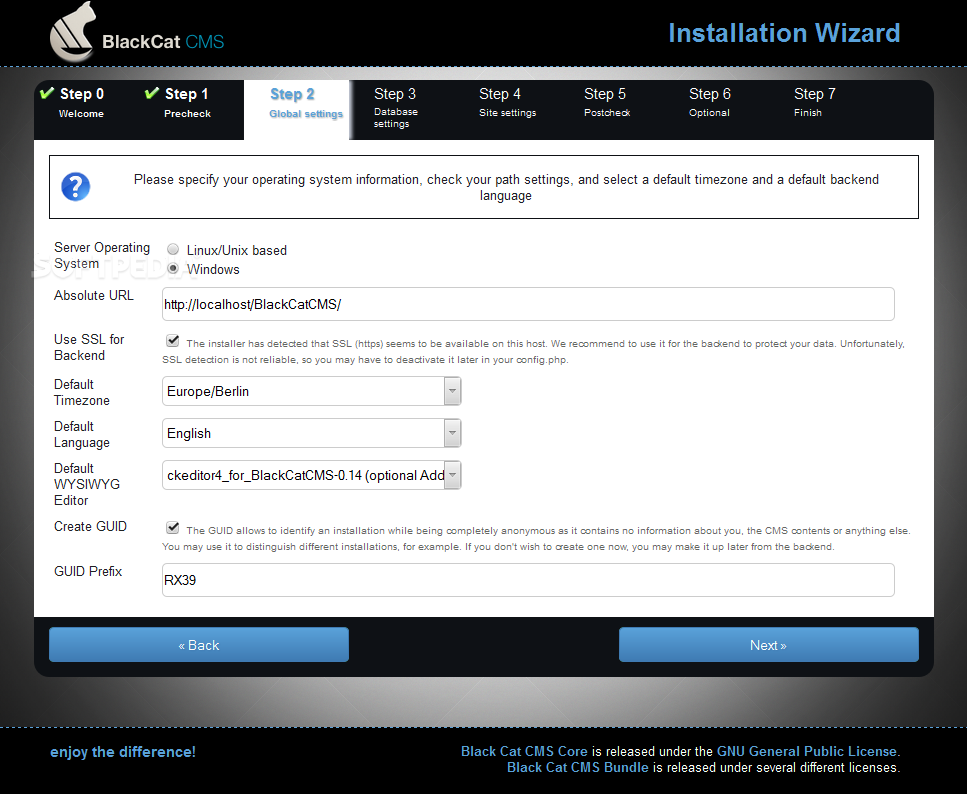 BlackCat CMS - BlackCat CMS comes packed with an installation wizard to help webmasters set it up