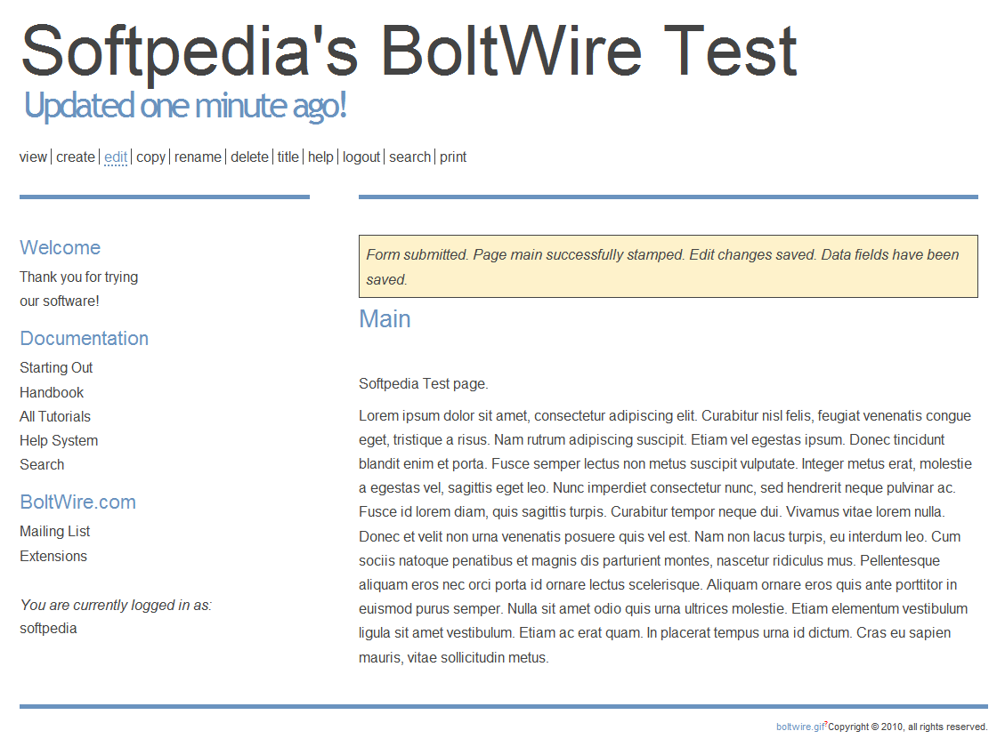 BoltWire - Viewing a wiki page