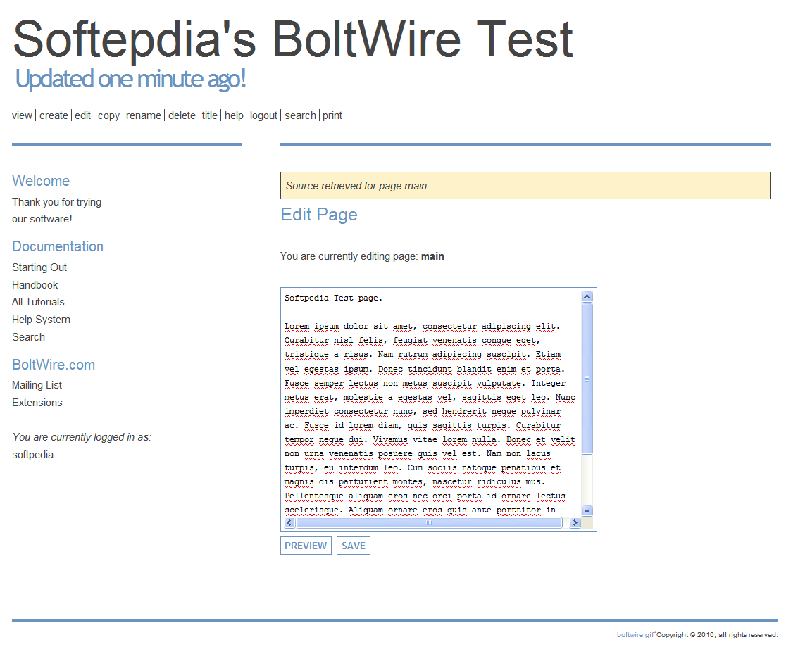 BoltWire - Editing a page's content