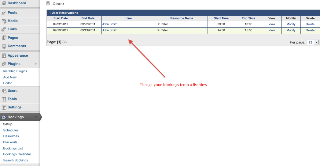 Bookings - Managing reservations in the backend