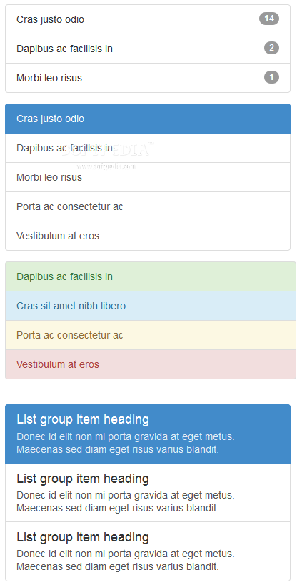 Bootstrap for Sass - List displays is another of Bootstrap's great UI elements