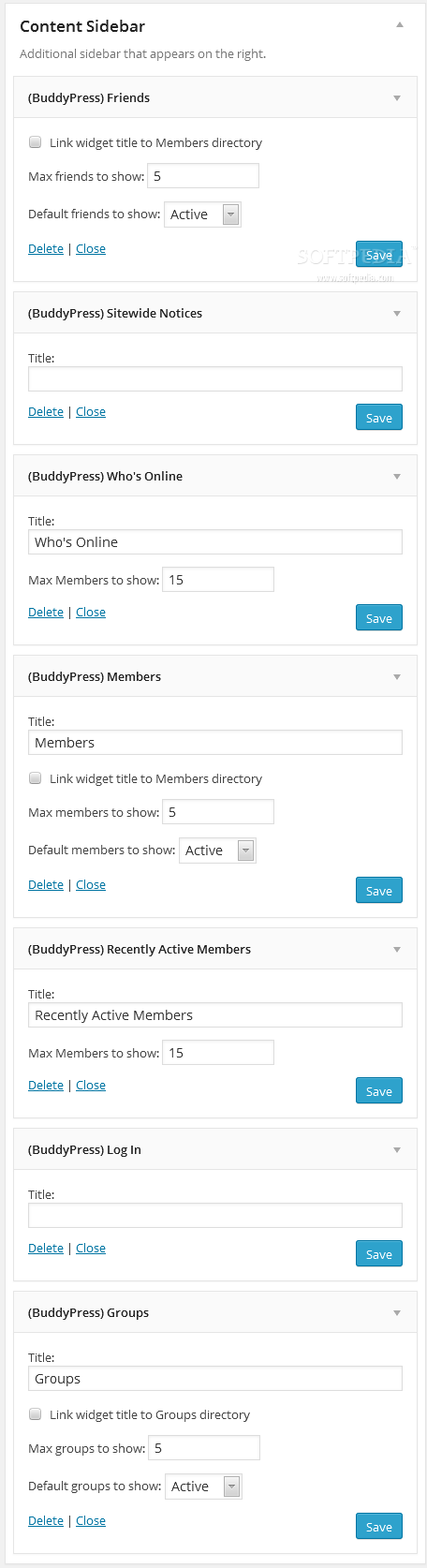 BuddyPress - Specific BuddyPress sidebar widgets are available inside the WP backend