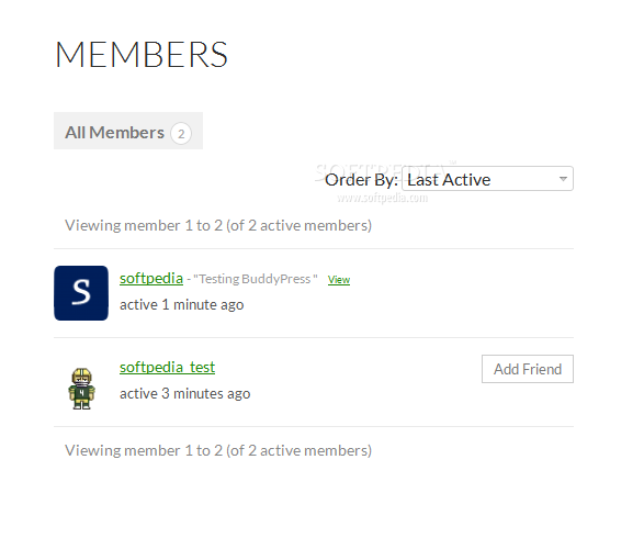 BuddyPress - The Members page lists all site users