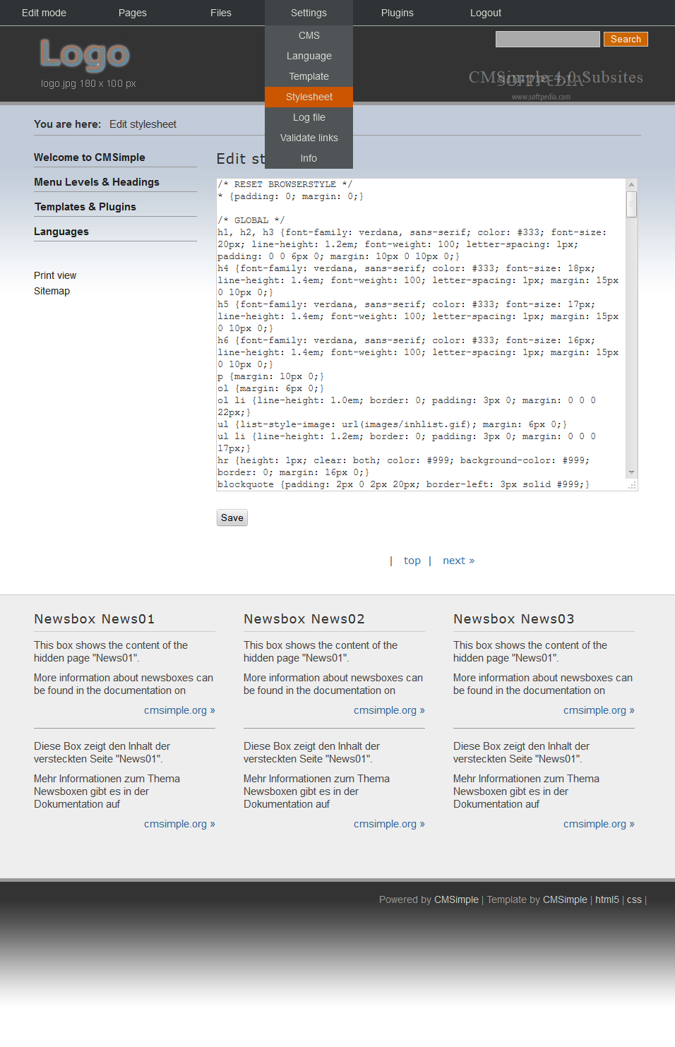 CMSimple - The webmaster can manage page templates and CSS styles