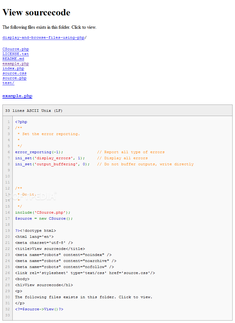 CSource - CSource will dump source code on the page via a PHP class