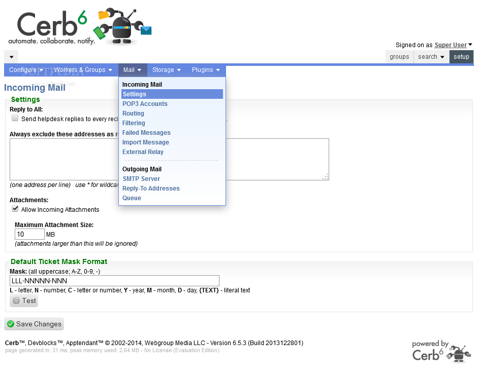 Cerberus Helpdesk - Cerberus Helpdesk also includes lots of customizable, mail-related settings