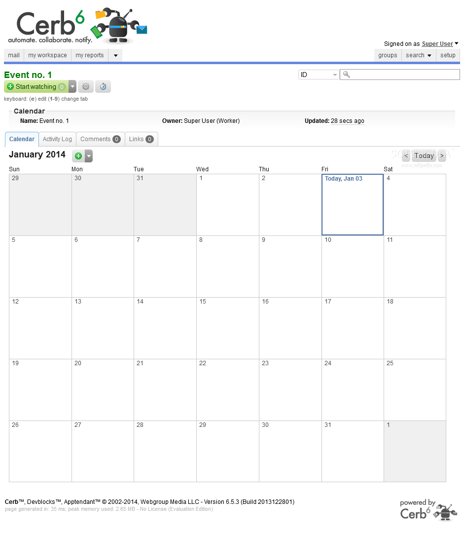 Cerberus Helpdesk - A personal calendar and organizer utility is available with Cerberus Helpdesk