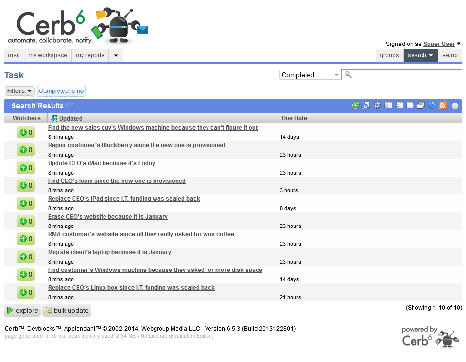 Cerberus Helpdesk - A task manager also ships with Cerberus Helpdesk