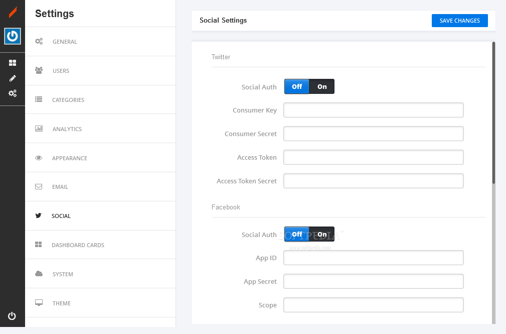CiiMS - Various social tools come packed by default with CiiCMS