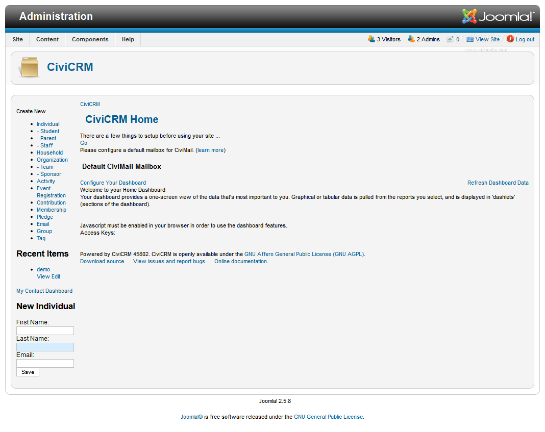 CiviCRM - CiviCRM working in a Joomla installation