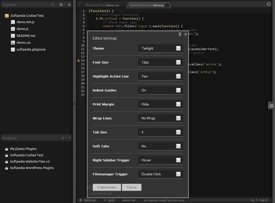 Codiad - Lots of tweakable settings are available inside Codiad