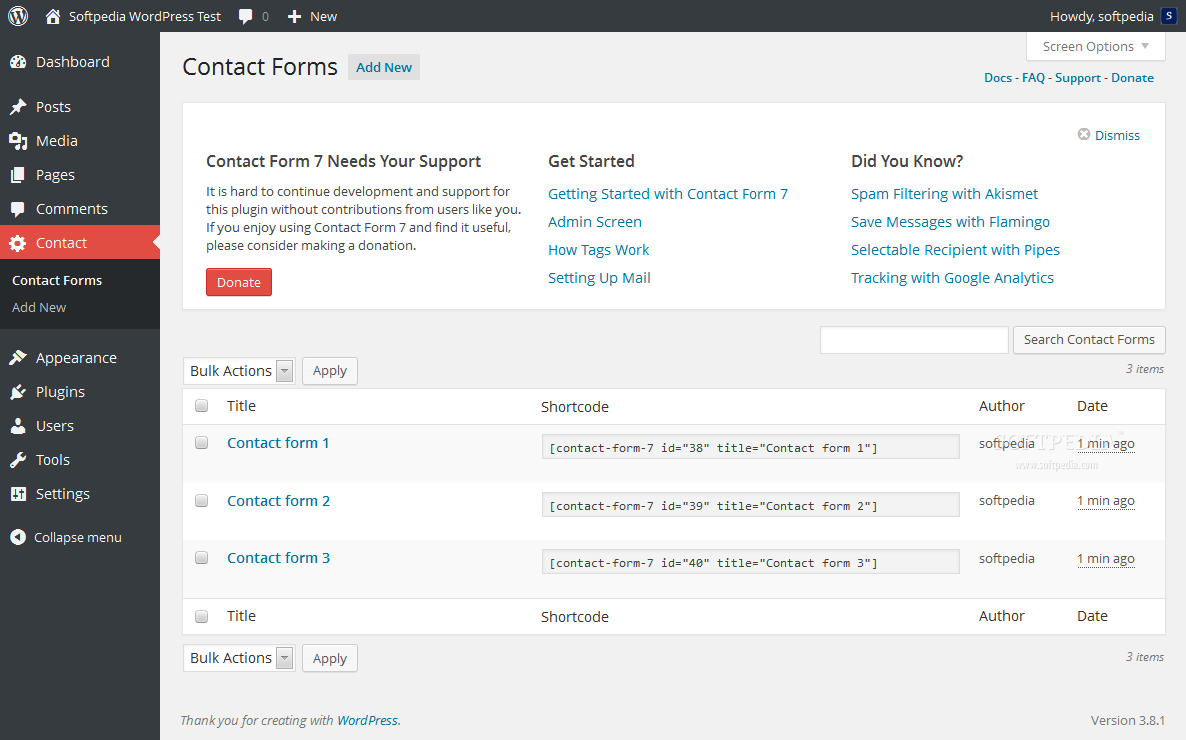 Contact Form 7 - Contact Form 7 provides a quick way to add and manage contact and Web forms in WordPress