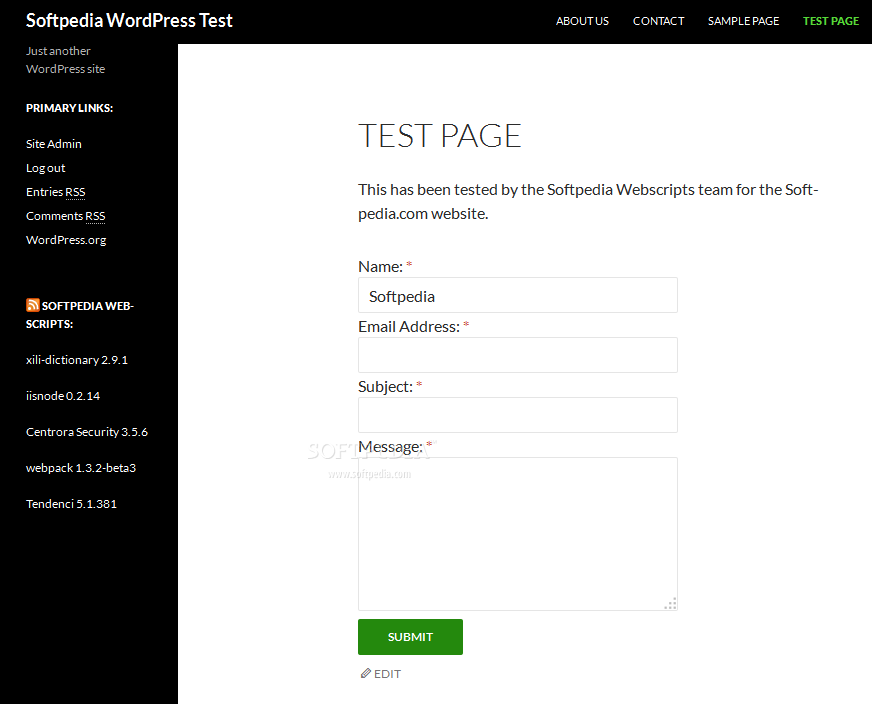 Contact Form - The Contact Form plugin can add simple contact forms to any site page