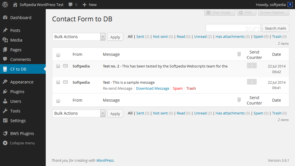 Contact Form To DB - All messages sent through the BestWebSoft Contact Form plugin are available on a special page in the WordPress backend