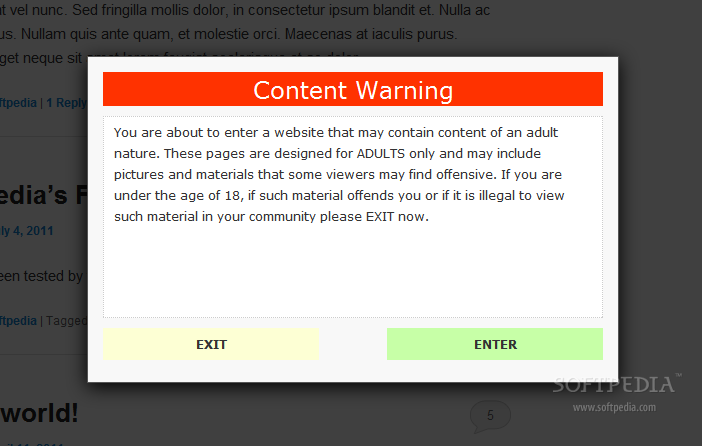 Content Warning - Sample warning modal