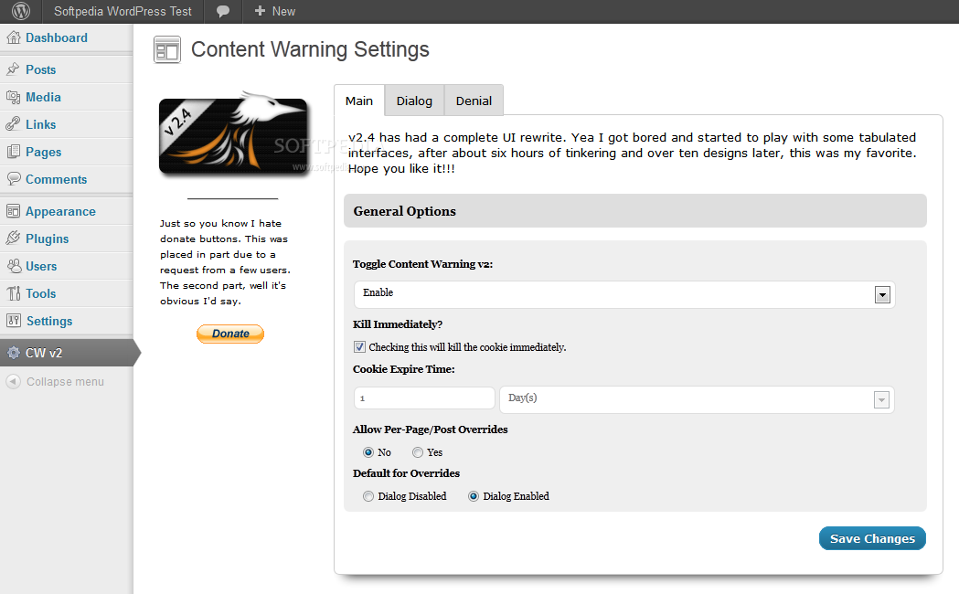 Content Warning - Main settings page