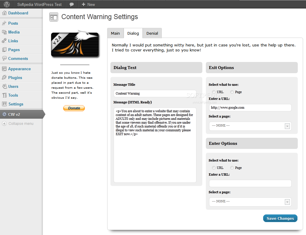 Content Warning - Modal dialog window settings