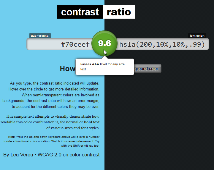 Contrast ratio screenshot 1