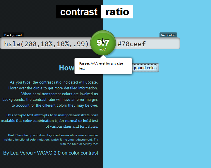 Contrast ratio screenshot 2