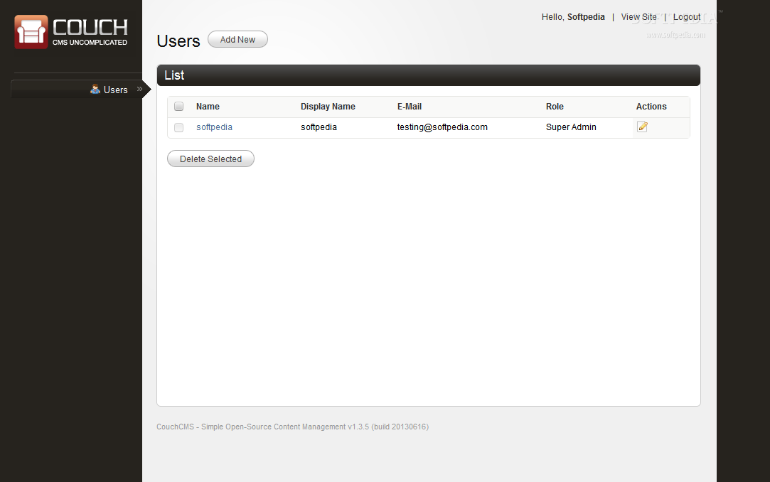 CouchCMS - Right after the installation, the only item manageable is the userbase
