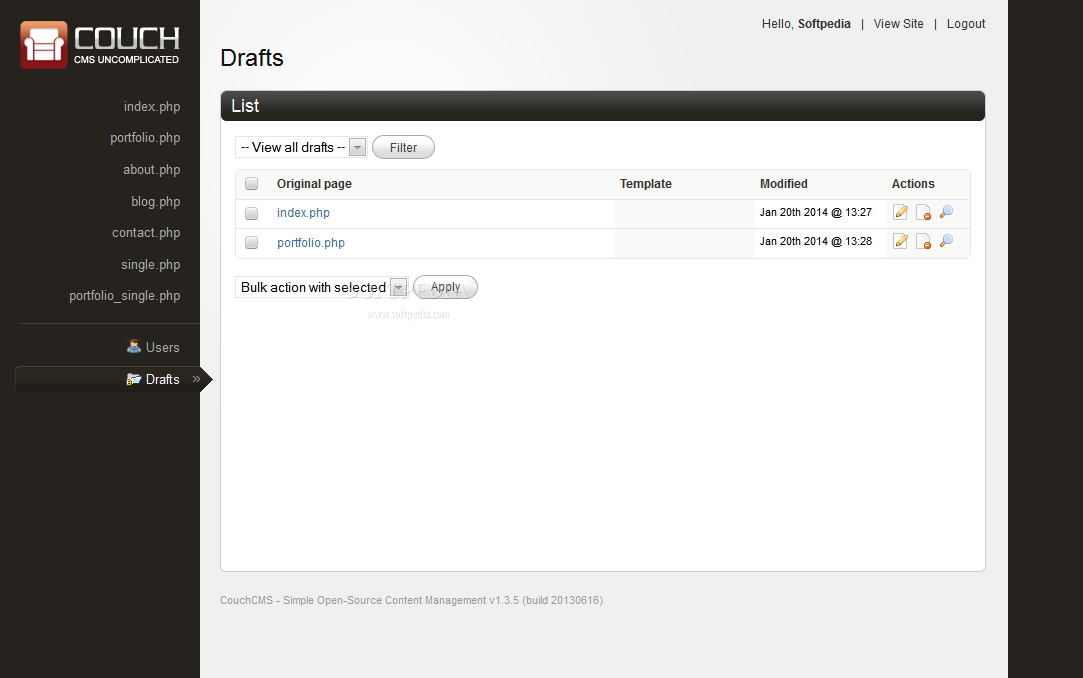 CouchCMS - CouchCMS supports a special section for draft content