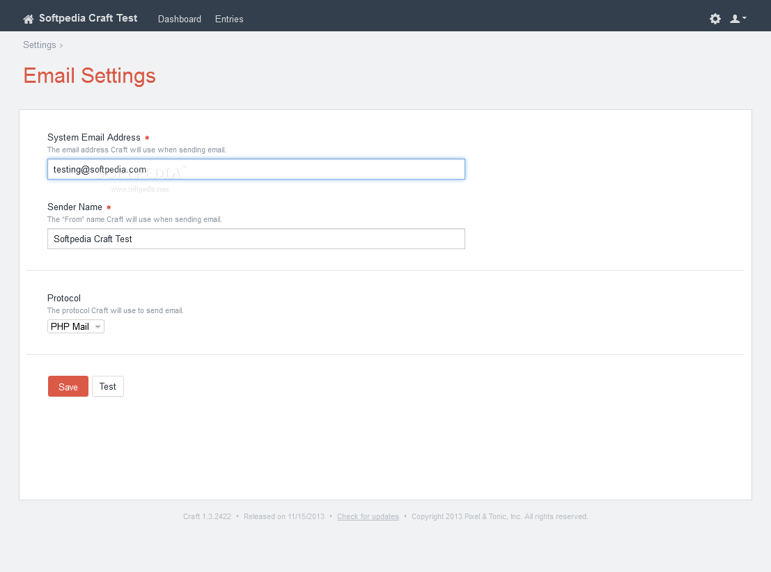 Craft - Email and newsletter settings can be modified as well